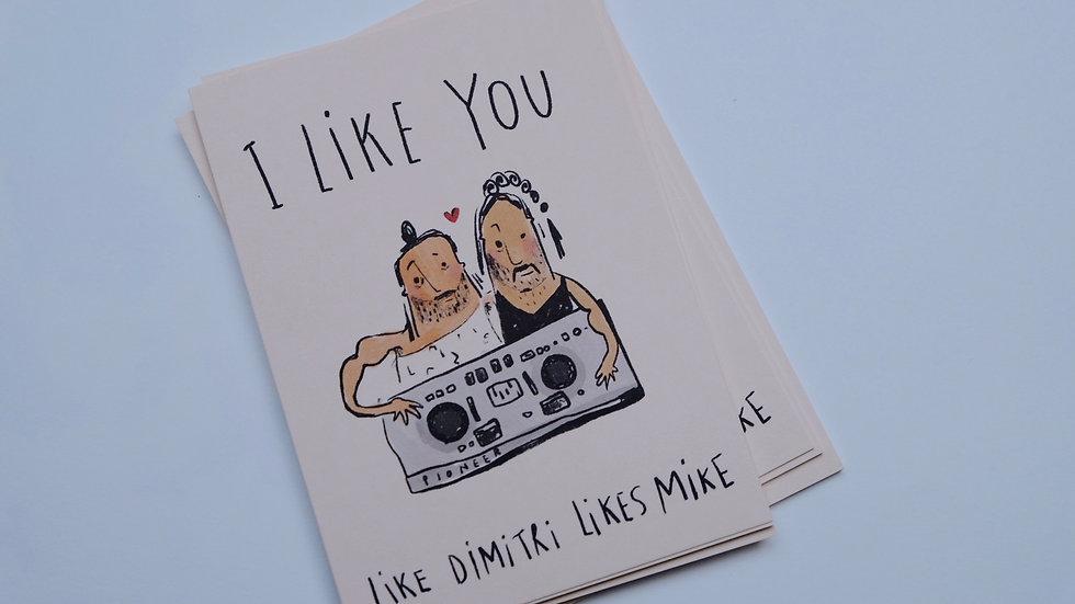 'I like you' postkaart