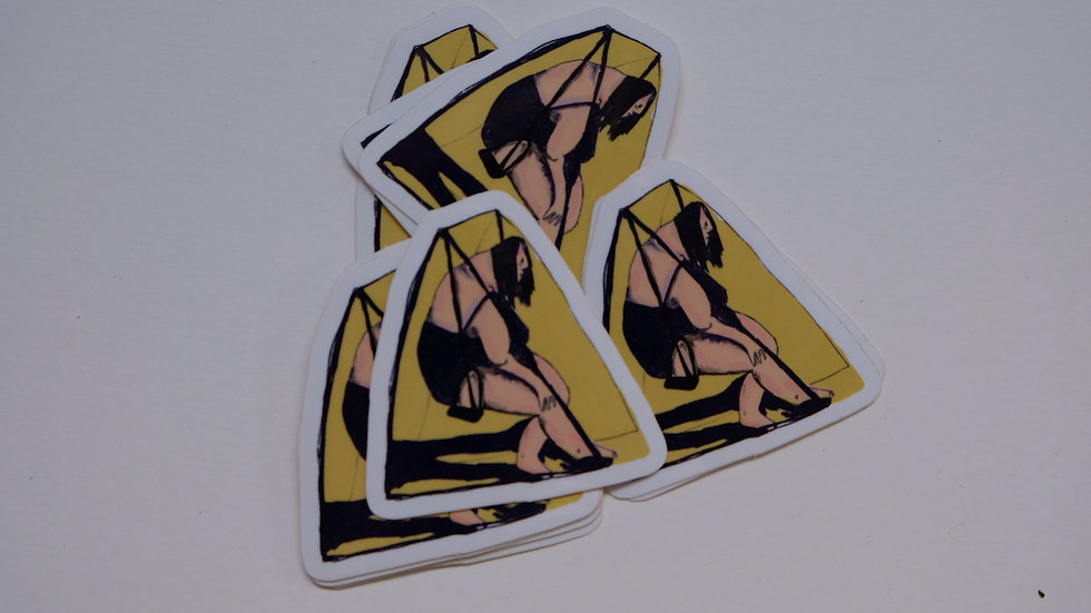 Depressief op een schommel (6 stickers)