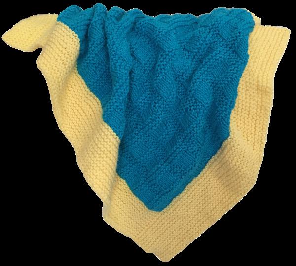 Bassinet Blanket - Aqua/Lemon