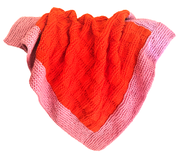 Bassinet Blanket - Bright Orange/Pink