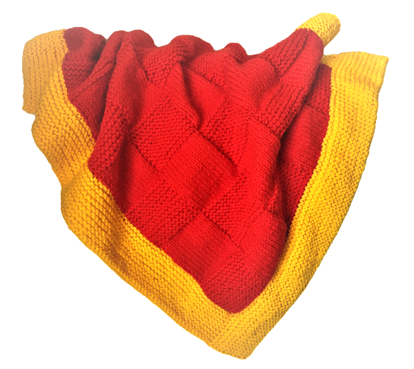 Bassinet Blanket - Red/yellow