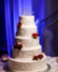Pinspots on a wedding cake