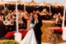 Bride and Groom under market lights