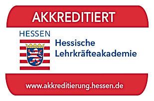 Siegel der Akkreditierung der Hessischen Lehrkräfteakademie Hessen.