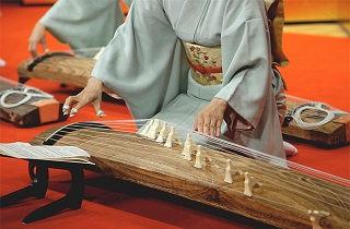 着物を着て琴を演奏する女性