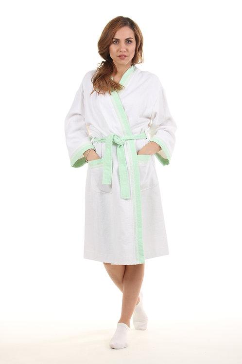 Халат женский бело-зеленый