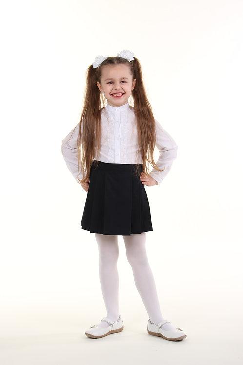 Школьная юбка в складочки темно-синяя костюмная ткань
