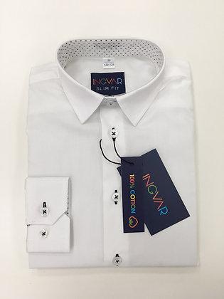 Школьная рубашка INGVAR белая+горошки