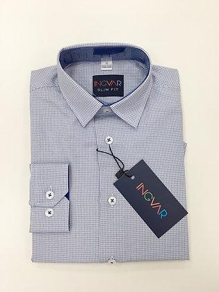 Школьная рубашка INGVAR светло-голубая клетка