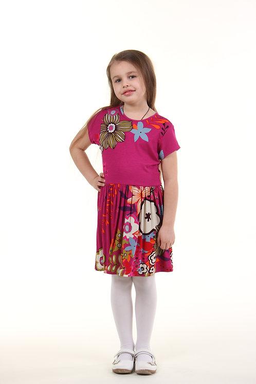 Платье цветочный принт розовый