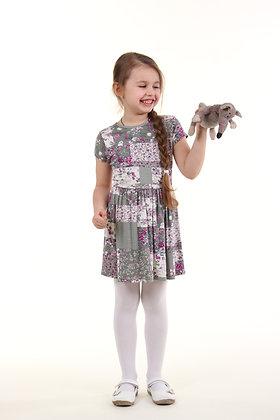 Платье LETTISS цветочный принт серый