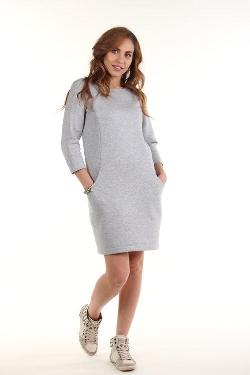 Спортивное женское платье (серый с блеском)