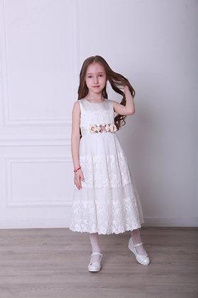 """Платье """"Розочки"""" молочное"""