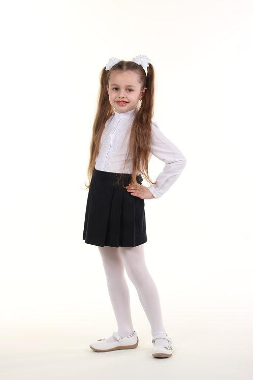Школьная юбка в складочки темно-синяя шерсть