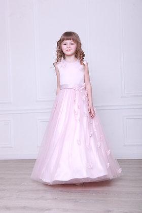 """Платье """"Бабочки"""" розовая пудра длинное"""