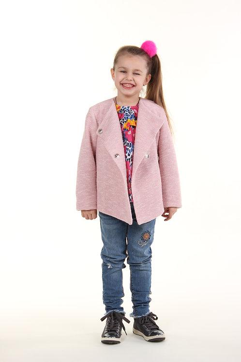 Пальто короткое демисезонное розовое