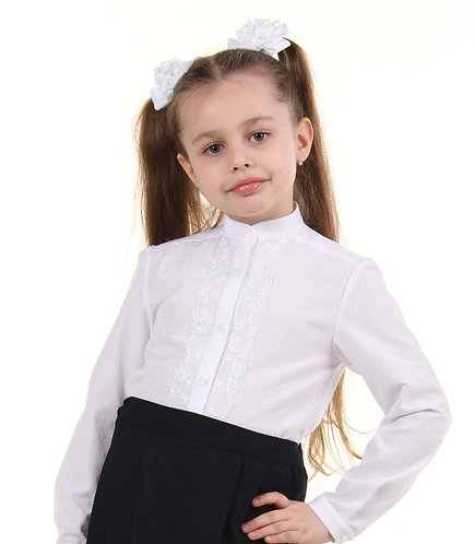 Школьная блуза с кружевом длинный рукав