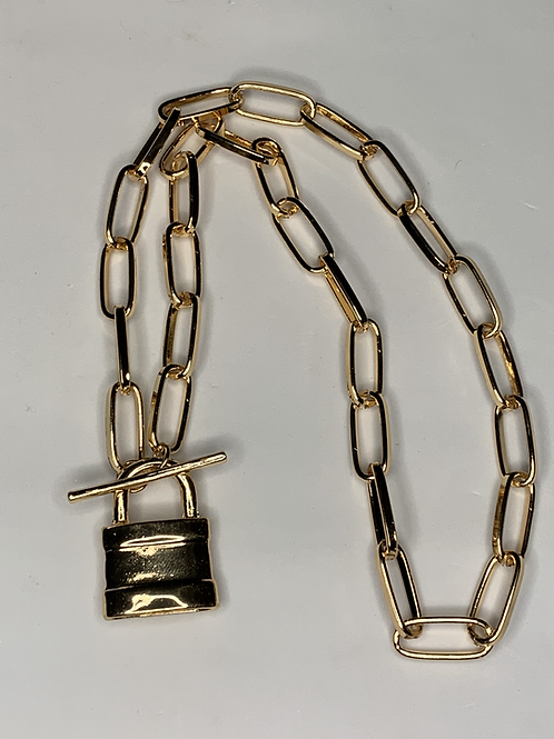 Lock Pendant Metal Chain Necklace