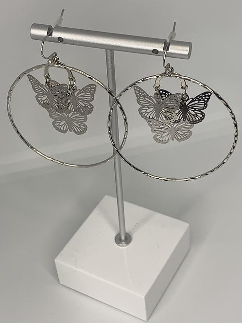 Silver Butterfly Hoops