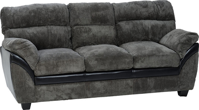 Capri 3+2 Suite - Charcoal Fabric/Black Faux Leather