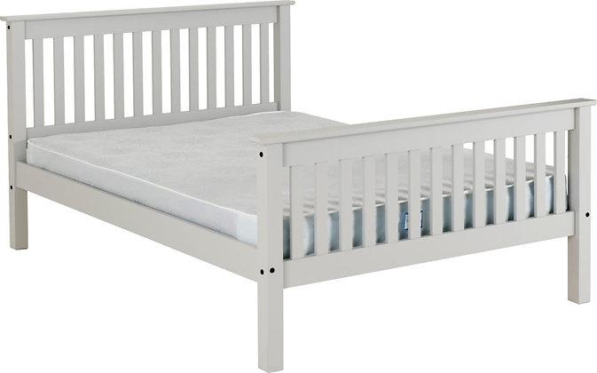 """Monaco 4'6"""" Bed High Foot End - Grey"""