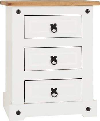 Corona Style 3 Drawer Bedside Chest