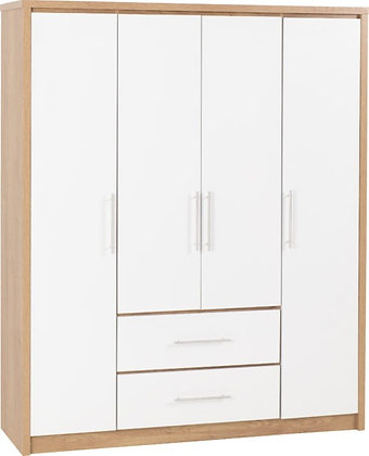 Seville 4 Door 2 Drawer Wardrobe