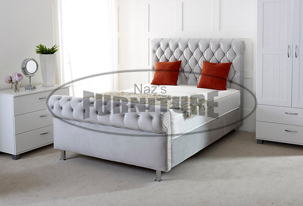 4ft (Small Double) Sleigh Bed with Roll Design