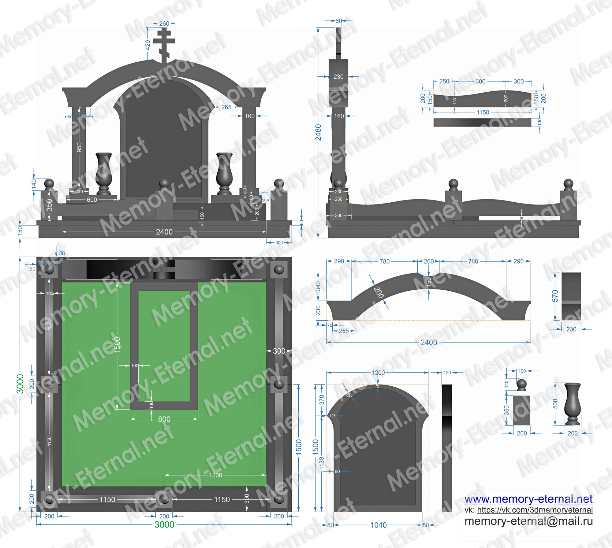 Чертеж памятника