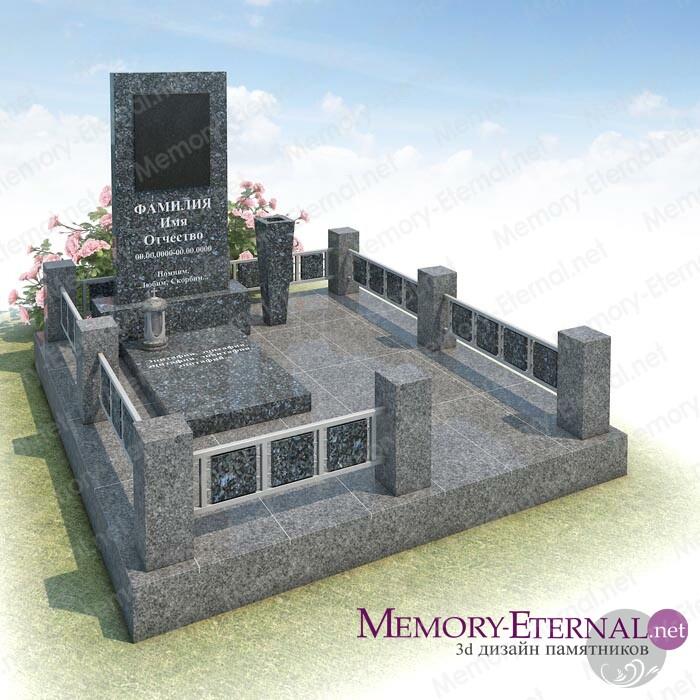 Дизайн мемориального комплекса из серого гранита