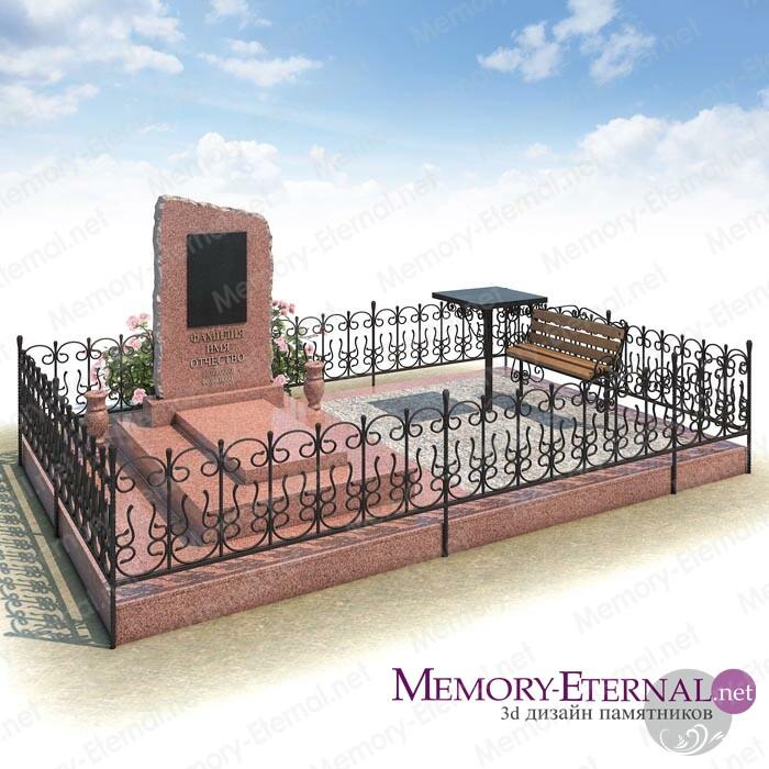 Дизайн памятника из розового гранита