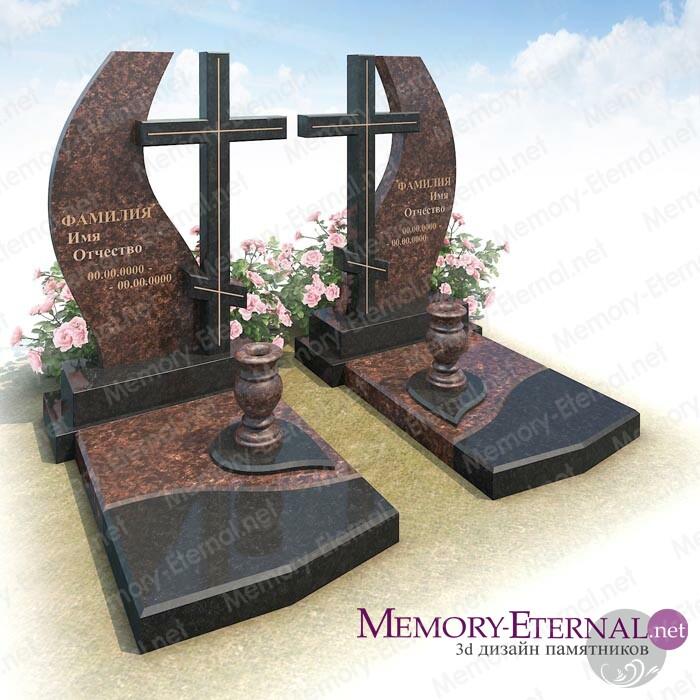 3d дизайн памятника с двойной стелой
