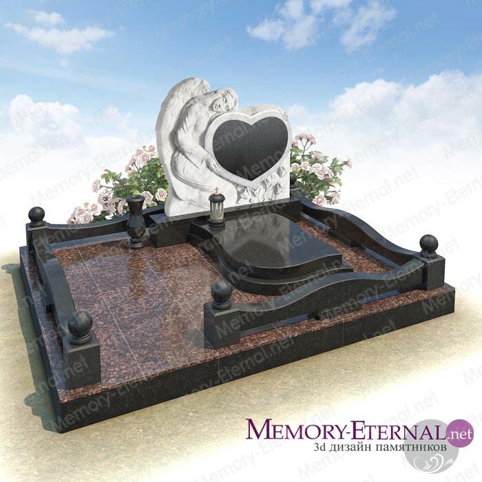 Дизайн мемориального комплекса с ангелом