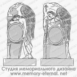 Памятник ангел с мечем и щитом