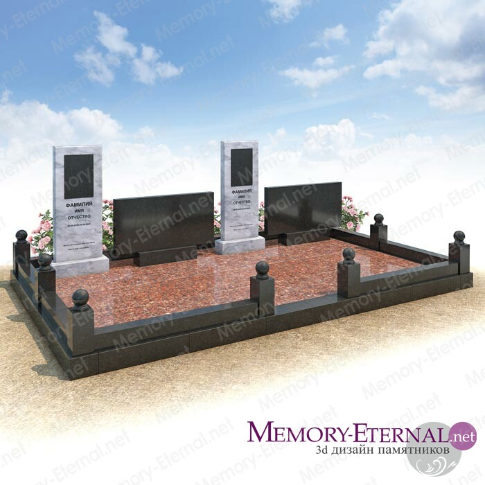 Дизайн комплекса с мраморными памятниками