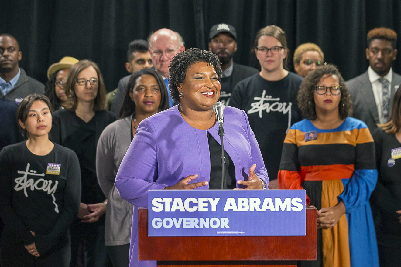 Stacey Abrams holding a press conference at Abrams Headquarters in Atlanta, Friday, Nov. 16, 2018 (Alyssa Pointer/Atlanta Journal-Constitution via AP)