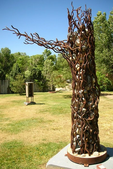 Rebar Tree with River Rock
