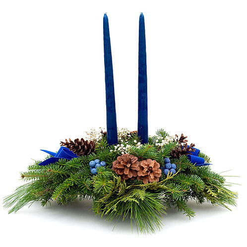 Two-Candle Balsam Fir Centerpiece