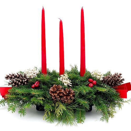 Three-Candle Balsam Fir Centerpiece