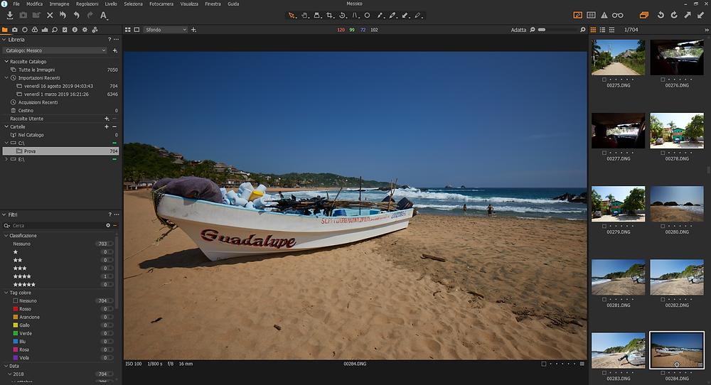 screenshot of Capture One Pro 12 raw editing software