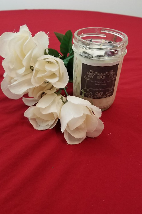 Rose buds and obsidian Candle