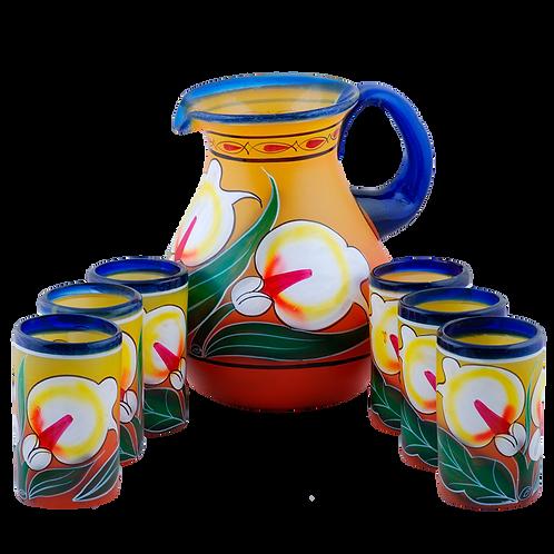 Juego de jarro de vidrio con 6 vasos