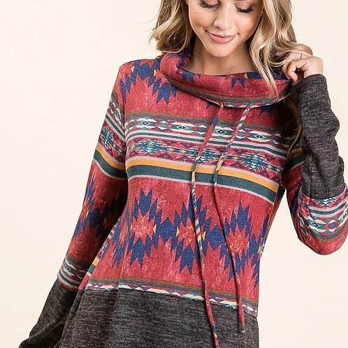 AZTEC TRIBAL PULLOVER - RED