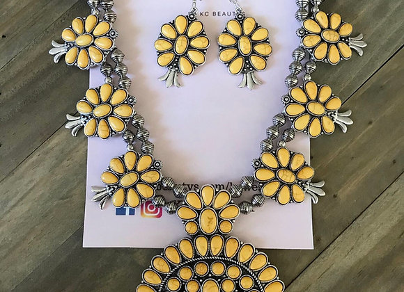 Yellow squash blossom necklace