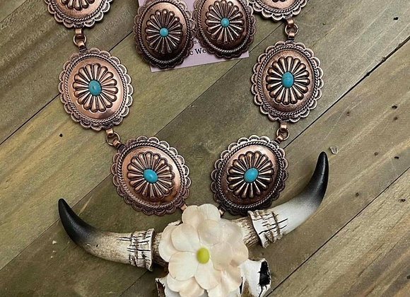 Concho with a steerhead necklace