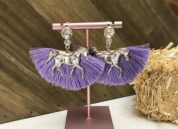 Purple fan earring with horse pendant