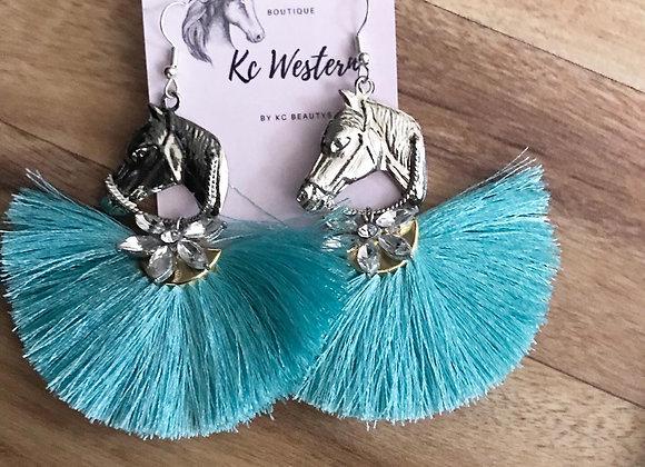 Turquoise tassel earring