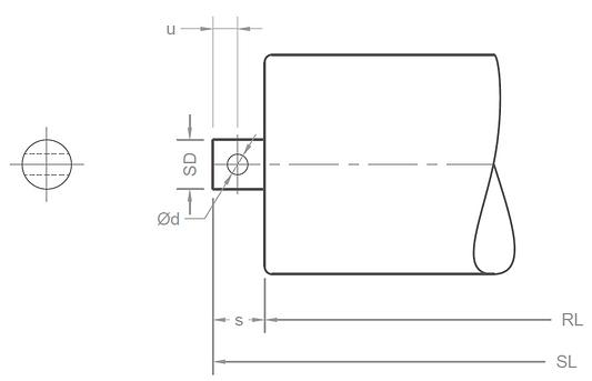 conveyor roller shaft end arrangement C-type