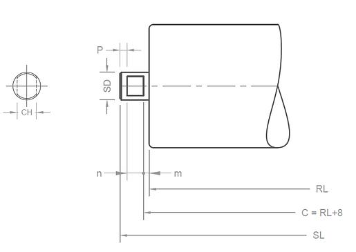 conveyor roller shaft end arrangement B-type