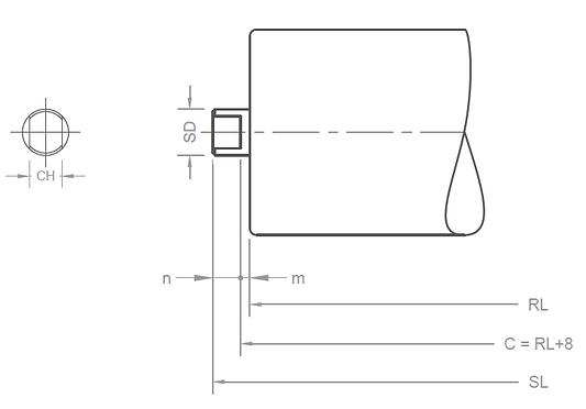 conveyor roller shaft end arrangement A-type